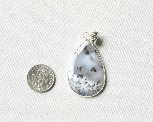 Pear Shape Merlinite Dendritic Opal Agate Natural Stone Pendant SIlver Necklace Sale