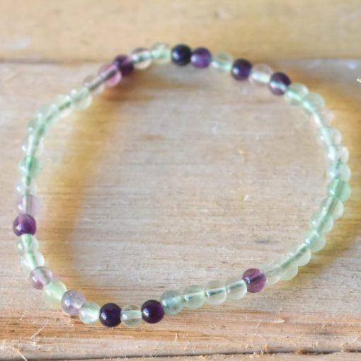 Rainbow Fluorite Crystal Healing Stone Bracelet