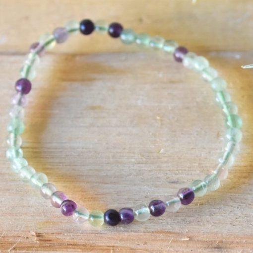Green Purple Fluorite Crystal Stretch Bracelet 4mm Raw Fluorite Stone Bead Communication Crystal Jewelry Sale Reiki Healing Crystal Wearable
