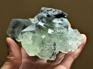 Clear Green Cubic Fluorite Crystal Cluster Specimen Natural Green Fluorite Crystals
