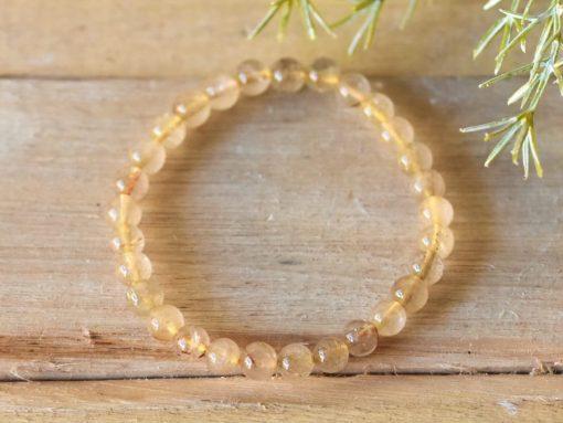 Golden Copper Rutilated Quartz Crystal Bracelet Gold Rutile Quartz Crystal One Size Stretch Bracelet Sale