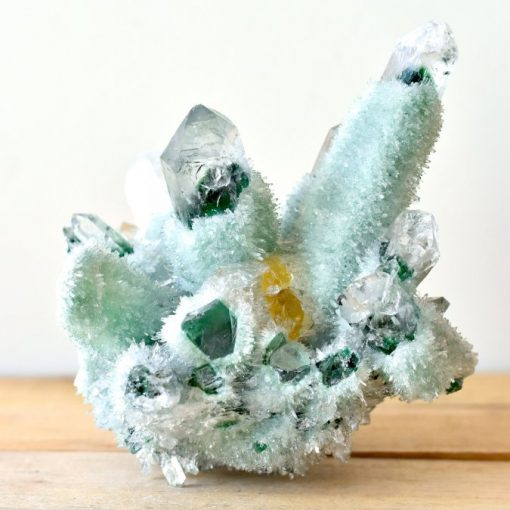 Tibetan Green Phantom Quartz With Genuine Citrine Crystal Point In Matrix Green Quartz Crystal Cluster Specimen