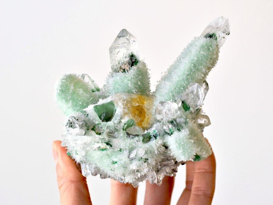 LARGE Tibetan Green Quartz Crystal Healing Properties Green Phantom Quartz With Real Citrine Crystal Point In Matrix Green Quartz Crystal Cluster Specimen For Sale