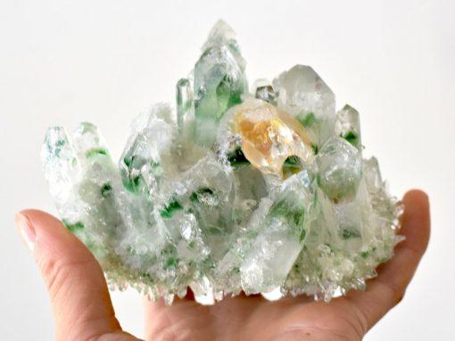 Tibetan Green Phantom Quartz With Genuine Citrine Crystal Point In Matrix Green Quartz Crystal Cluster Specimen For Sale At Best Crystals Wholesale