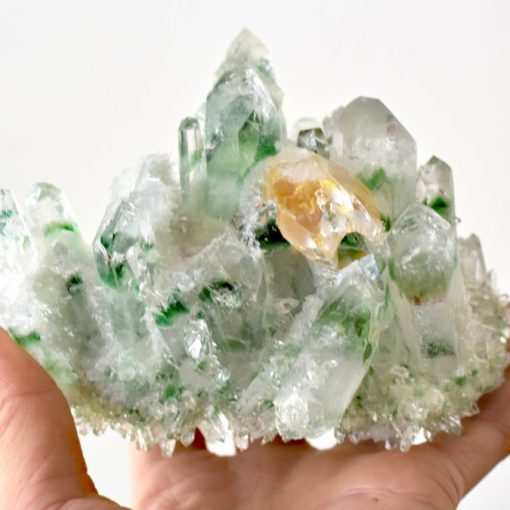 Tibetan Green Phantom Quartz With Genuine Citrine Crystal Point In Matrix Green Quartz Crystal Cluster Specimen For Sale At Best Crystals Wholesale