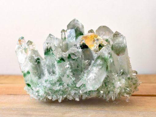 Green Ghost Phantom Quartz Crystal Cluster From Tibet Healing Crystal Properties Tibetan Green Ghost Quartz Cluster With Genuine Citrine Crystal Point In Matrix Green Quartz Crystal Cluster Specimen For Sale At Best Crystals Wholesale