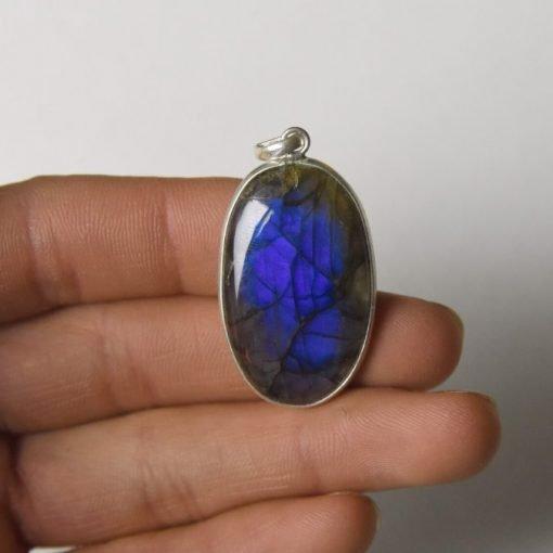 Likable Rare Multi Flashy Fire Labradorite Cabochon Pendant Jewelry Making Stone Labradorite Stone 44X30X6 mm 75 Crt Labradorite Gemstone
