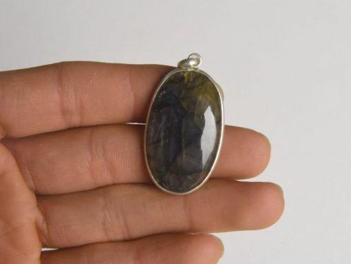 Natural Labradorite Pendant Sterling Silver Oval Cabochon Labradorite Necklace Jewelry Gift