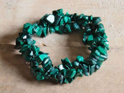 Green Malachite Stone Chips Bracelet Malachite Healing Crystal Jewelry Sale