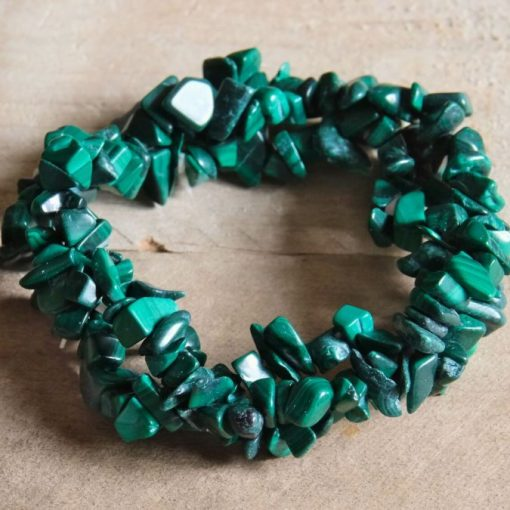Green Malachite Stone Chips Bracelet Malachite Healing Crystal Jewelry Sale