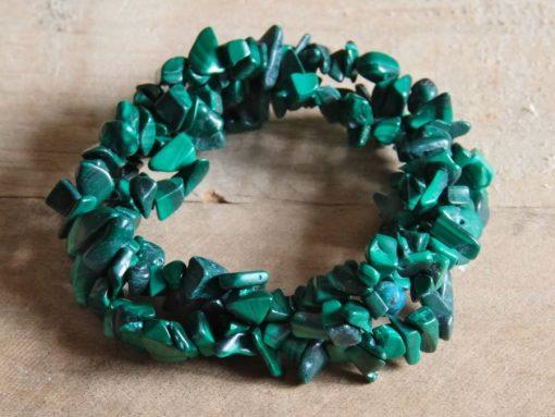 Green Malachite Crystal Bracelet One Size Stretch Green Malachite Crystal Stone Chips Healing Crystals Bracelet Jewelry Gift Sale