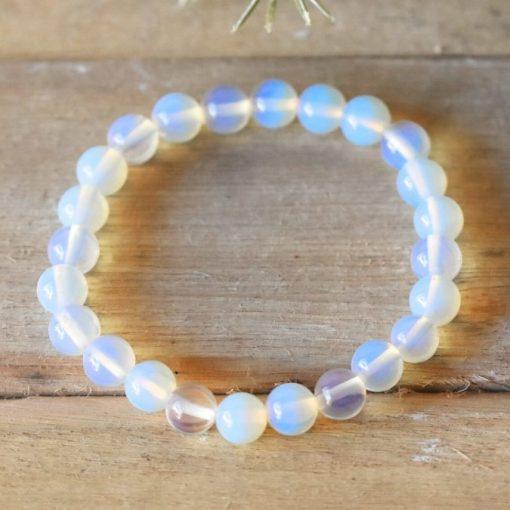 White Opalite Stone Bead Bracelet Lab Opal Jewelry Yoga Gift Sale