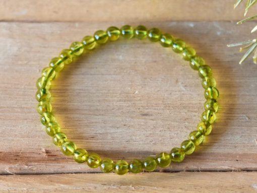 Genuine Peridot Gemstone Bracelet Beaded Crystal Stretch Bracelet ONE Size | Green Peridot August Birthstone Jewelry Birthday Gift