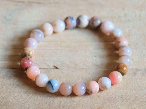 Peruvian Opal bracelet Natural Opal genuine Pink Opal Stone 8mm Stretch Bracelet Yoga Jewelry Gift Sale