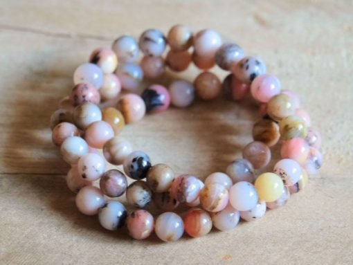Genuine Pink Opal Bracelet Jewelry Peru Natural Opal 8mm Beads   Stone Of Emotional Healing Crystal Bracelet Wholesale