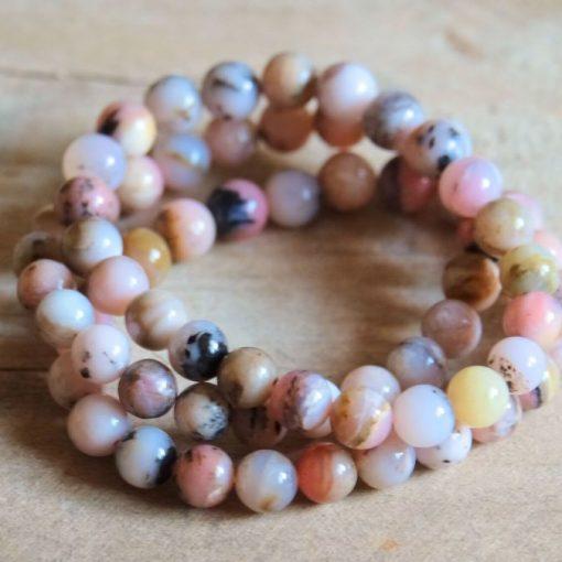 Genuine Pink Opal Bracelet Jewelry Peru Natural Opal 8mm Beads | Stone Of Emotional Healing Crystal Bracelet Wholesale