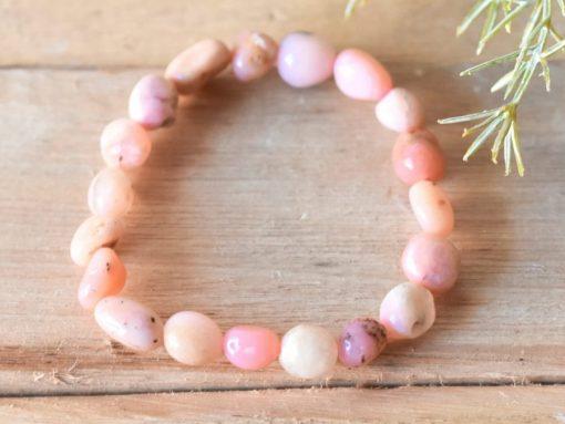 LARGE Pink Opal Bracelet Alternative April Birthstone Birthday Gift Healing Crystal Jewelry Sale