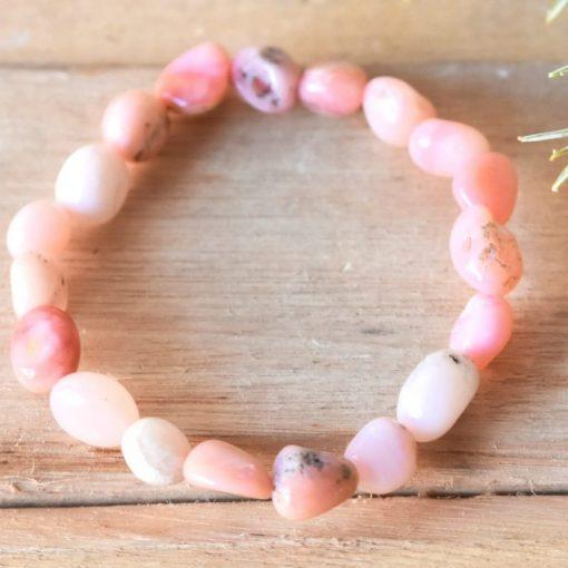 Genuine Pink Opal Bracelet Jewelry Gift | Natural Pink Opal Crystal Emotional Healing Gift Sale