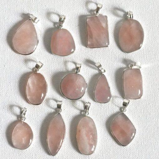 Buy Natural Pink Rose Quartz Pendants Silver pendant Necklace | Best Crystals Wholesale