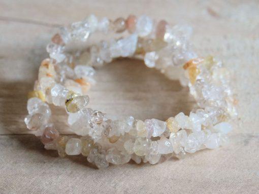 Natural Golden Rutilated Quartz Crystal Bracelet Jewelry Gift | Gold Rutile Attunement Crystals Healing Crystal Bracelet Gift
