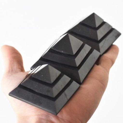 Natural Shungite Shakkara Pyramid 80mm SALE   Shungite Healing Crystal Generator   Use Shungite For EMF Blocking Negative Energy Shielding