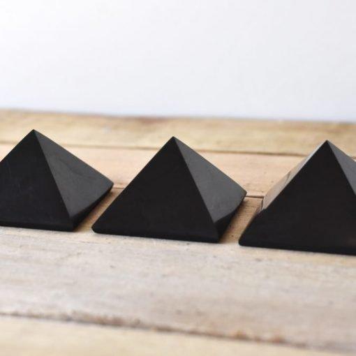 Black Shungite Crystal Pyramid Block EMF Negative Energy Protection Stone